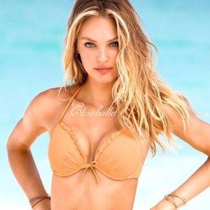 💛Victoria's Secret Push Up Ruffle Bikini Top 36C